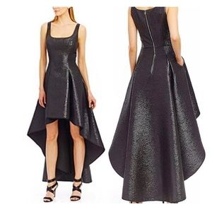Nicole Miller: Black Textured A-line High Low Gown